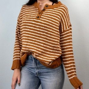 American Eagle Striped Henley Knit Sweater Mustard